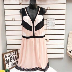 Hollywould A line Chiffon Color block Mini dress